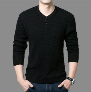 VXO Men Pullover Sweater V-Neck Sweaters Mens Striped Pattern Long Sleeve Cotton Tops Male Pullovers