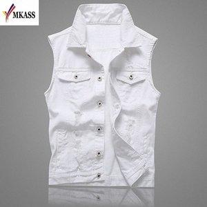 MKASS Vintage Design Veste Denim Homme Homme Couleur Blanc Slim Fit manches Vestes Homme trou Brand Jeans Taille Plus Waistcoat 5XL aNjw #