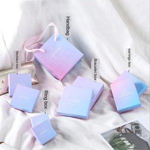 ins anneau collier collier de bijoux bracelet bleu dégradé rose boîte d'emballage de distribution de boîte de bracelet universel OfUwS