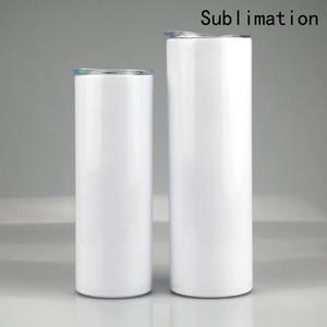 20oz 30oz sublimação blanks endireitado encaixe de aço inoxidável branco branco copo magro branco com tampa Cilindro de palha garrafa de água café