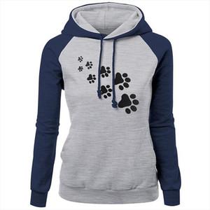 Hoodies New Women Women Hooded Pullover Cat Paw Print Plus Velvet Hoody Female Autumn Winter Outfit Sweetshirts Moletom Feminino