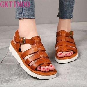 GKTINOO Mulheres Gladiator Sandals Verão Sapatos Peep Toe plana Sandals Senhoras Couro Leve Slingback Casual