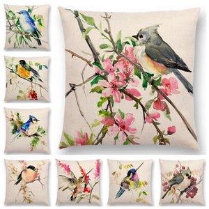 Горячие Продажа Акварельные Прекрасные Птицы Цветы Робин Тит Finch Hummingbird щегол воробей Ягоды Tufted Подушка Обложка Наволочка