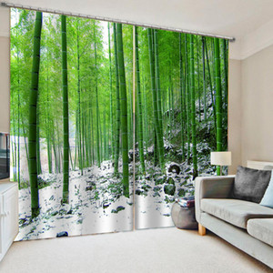 Window Blackout Luxury 3D Curtains set For Bed room Living room green bamboo curtains 3D Window Curtain Decoration curtains
