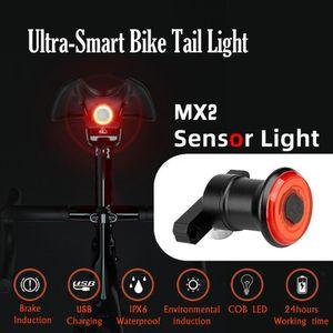 스마트 자전거 후면 빛 자동 시작 / 정지 브레이크 감지 IPX6 방수 USB 충전 자전거 테일 미등 자전거 LED 라이트 # 4