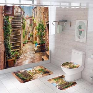 3D Colorful Street Alley Pattern Shower Curtains Bathroom Curtain Home Decor Non-Slip Rug Toilet Seat Cover Bath Mats Carpet Set