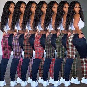 Fashion Women Leggings Designer Lattice Pattern Contrast Stitching Grid Long Pants Slim Sexy Ladies New Trendy Trousers