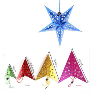Hot 30 45 60cm Paper Star Lantern 3D Pentagram Lampshade for Christmas Xmas Party Holloween Birthday Home Hanging Decorations