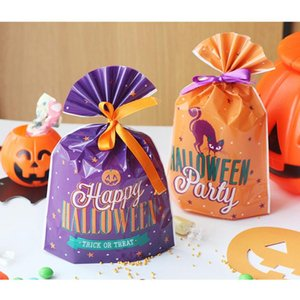 Cat Pumpkin Letter Printed Gift Bags Children Biscuits and Candy Bags Party Flat Mouth Packing Bag Halloween Decoration