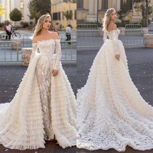 Luxe Sirène Robes de Mariée avec Dentelle détachable train Appliqued hiérarchisé Robes de mariée manches longues Custom Made longue robe de mariée