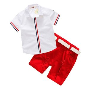 Yüksek kaliteli Bebek Boys Giyim Yaz Çocuk T Gömlek + Şort + Belt 3adet Suit Bow Pantolon ayarlar Spor Çocuk Giyim Moda Giyim