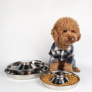 Yeni Paslanmaz Çelik Yavru Köpek Maması Bağırsak Besleyici Gıda Su Bulaşık Bowl için Pet Köpekler Kedi Slow Food Bowl S M L Besleme