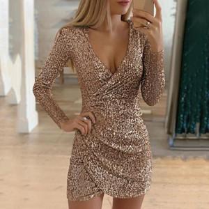 Женщины обнаженные сексуальные блестения Bodycon мини-платье женщины V-образные вырезывающие платья самосовершенствования тонкие элегантные дамы вечернее вечеринка платье