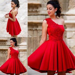 Elegant Red Lace A line Homecoming Dresses One Shoulder Lace Up Short Mini Length Party Dresses Short Graduation cocktail dresse