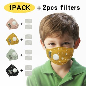 Kids Face Masks Children Stars Printed Face Cover Breathable Valve Face Mouth Cover Designer Respirator With Eye Shield For Kids AAB1141