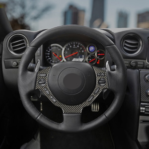 Black Dry carbon fiber Steering wheel trim cover Car interior Auto Parts For GT-R R35
