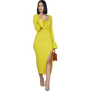 Warm Womens Casual Dresses Flared Sleeves Fashion Soild Color Womens Bydcon Dresses Scoop Neck Sexy Clothing Split Designer
