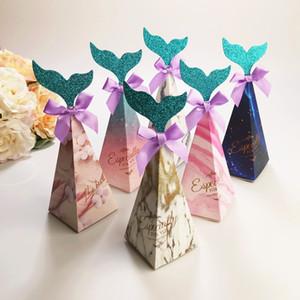100pcs sirène Triangle Candy Box mariage Faovrs fête d'anniversaire de Noël Papier cadeau Boîte Multi Couleurs Livraison gratuite