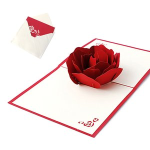 Handmade Greeting 3D Cards Rose for Christmas Birthday Valentine's Day Holiday Gift MAR10_35