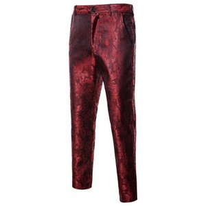 Wine Red Dress pantaloni da uomo 2020 nuovissimo Pantaloni a sigaretta uomini Wedding Party fase Singer Prom vestito di pantaloni Pantalon Homme