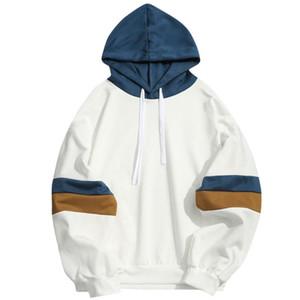 Casual Parallel Patchwork Costura 2020 com capuz A camisa dos homens camisola Marca Bares Magro Hoodie Jacket Hip Hop Lenço