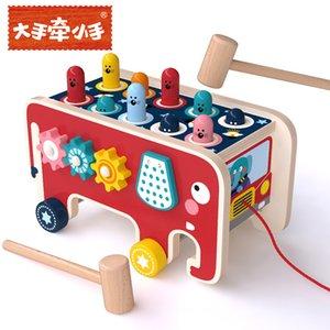 elefante cartone animato in legno trascinando la gioia giocattolo Whack-a-mole maschio bambina formazione scolastica azione pensiero lego giocattoli