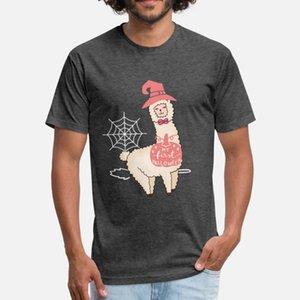 Boyun Standart Sevimli Yapı İlkbahar Sonbahar Orjinal gömlek yuvarlak Llama Cadılar Bayramı Gömlek Mutlu Lama Ween Alpaka WITC t gömlek erkekler Custom pamuk
