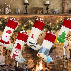 Christmas Linen Stocking Santa Tree Hanging Socks Xmas Kids Gifts Bags Christmas Tree Pendant Gift Bag LX3316