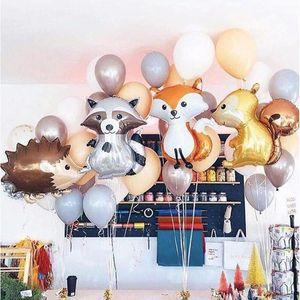 Ducha fiesta de cumpleaños de dibujos animados feliz GIHOO grandes animales de la selva mapache lámina de globos de helio del globo de bebé Decoraciones Juguetes para niños