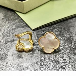 cuivre plaqué or blanc noir coquille fleur de trèfle rouge vert agate boucles d'oreilles en pierre naturelle pour les femmes 2019 vente chaude bijoux de mode de luxe