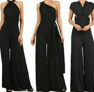 Seksi Elegant Ofis Lady İş Elbiseleri Derin V Yaka Dalma Gevşek Tulum tulum tulum Kolsuz Rrompers Kadın Wrap Jumpsuit