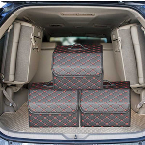 PU Leather Folding Cargo Storage Stowing Tidying Car Trunk Organizer Box Storage Bag Auto Trash Tool Bag Car Accessories