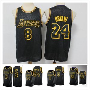 Los AngelesLakersKobeBryantLebronJamesAnthonyDavisMEN Black Mamba cityNBA basketball Jersey
