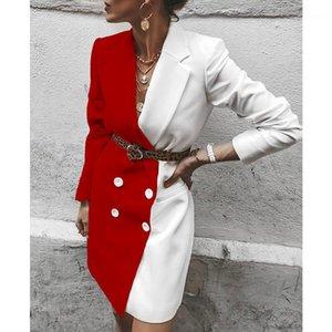 Jaquetas Mulheres com painéis paletós com faixas Botão Manga comprida lapela pescoço forma das mulheres Coats Color Contrast Designer
