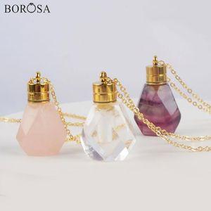 Collar de Oro Borosa cristal de cuarzo rosa botella de perfume para mujeres arco iris de fluorita esencial del difusor del aceite collar colgante G1979
