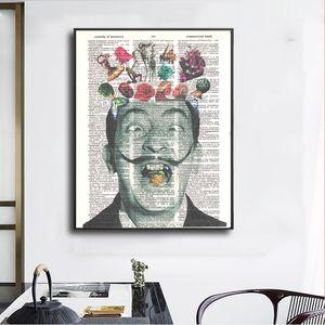 Arte abstracto de Salvador Dalí en las pinturas de periódicos Wall Art Prints Pictures para la sala lienzo Artes decorativas Decoración