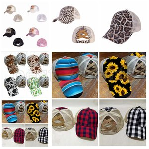 14 Styles Ponytail Baseball Cap Sunflower Leopard Criss Cross Washed Cotton Trucker Caps Cactus Plaid Ponytail Hat Trump Party Hats CYZ2733