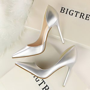 New Arrival 2021 9cm high heels wedding office shoes women big size pointed toe female shoes PU