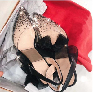 Venta caliente-2019 venta caliente de alta calidad de alta calidad tacón alto taladro transparente taladro zapatos de vestir, señoras moda sexy fiesta sandalias zapatos de boda