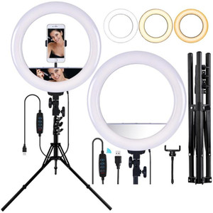 FOSOTO 14 inch Led Ring Light With USB Port Photographic Lighting makeup Ring Lamp With Mirror&Tripod Ringlight For Phone Tiktok