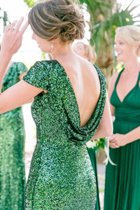 Cap Sleeved Green Sequin Bridesmaids Dresses Wedding Party Formal Occasion Pageant Dress Evening Gown