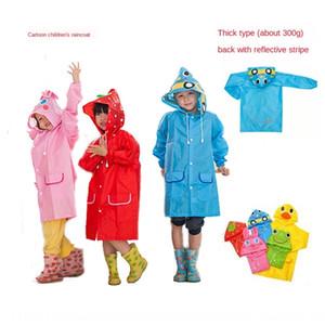 estilo animal de la historieta fQFDS HAPPYFUN reflectante tira equipo para la lluvia ropa de lluvia impermeable del poncho de los niños de espesor con banda reflectante