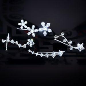 5gJMw s925 Ear-appeso earringsearring earringsstud pantaloni a vita bassa piena di diamanti a sette stelle con orecchio fila orecchio appesi femminile gioielli in argento