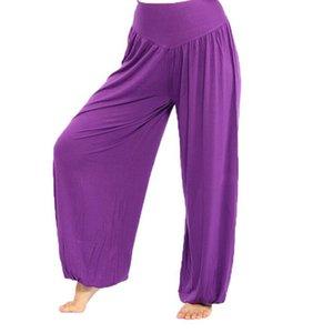 Calças de yoga Bloomers cintura alta estiramento mulheres do esporte yoga Calças flare Pant Dança Tai Chai pernas soltas calças compridas Bloomers