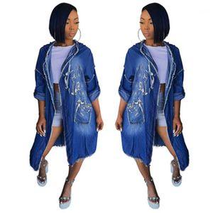 Occidente Cardigan manga larga de vestir exteriores del dril de diseñador femenina collar del soporte de las chaquetas Casual Ropa Mujeres Capa con capucha capa de la manera Tendencia