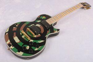 Custom Made Zakk Wylde Camouflage Preto Bullseye guitarra elétrica Copiar EMG Pickups, ouro Truss Rod Capa China Guitars