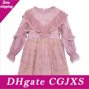 Vieeoease ragazze Flower Dress Abbigliamento Bambini 2018 di modo di autunno manica lunga del merletto del ricamo della principessa Party Dress Ee -986