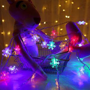 Árvore de Natal 6M 40LED Snowflake Luzes Cordas neve Fada Garland Decoração Para Feliz Ano Novo Fada Battery Powered Luz