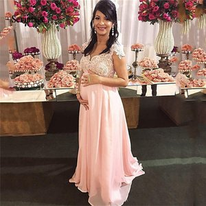 2021 Maternity Prom Dresses Empire Pregnant Dress Lace Beaded Sash Bow Plus Size Evening Party Gowns Chiffon Abendkleider