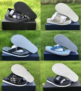 2020 Hombres Negro Alfa sandalia en oblicuo Bandas Jacquard Verano Hombres Zapatillas de nylon cómodo suela de goma con la caja original envío